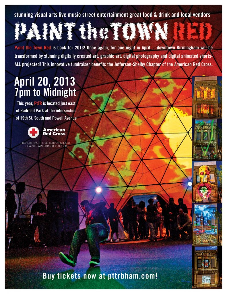 Flyer for Paint the Town Red, an annual festival in Birmingham benefitting the American Red Cross