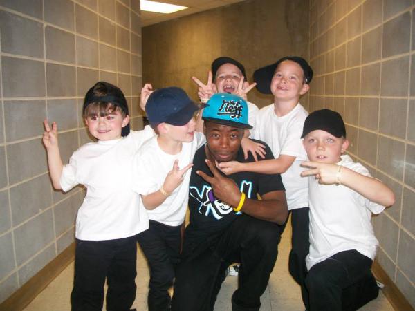 Keenan with Birmingham Dance Theatre students after their recitals