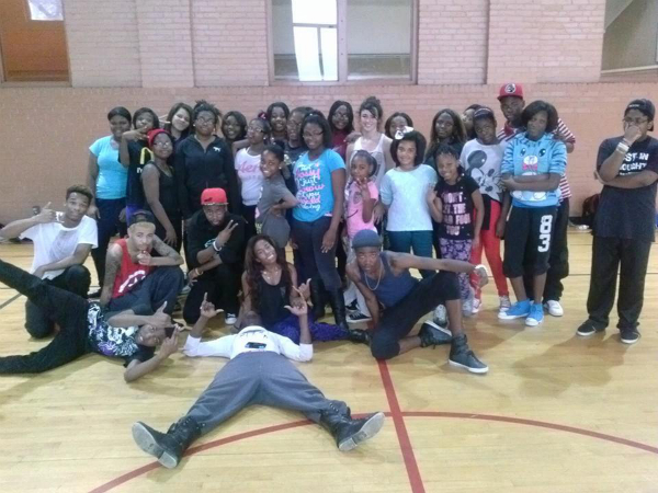Keenan with students from Illumny's Dancing 4 Dollars charity workshop benefitting Bush k-8 Unified Arts Program